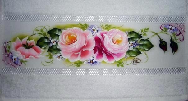 pintura em tecido toalha de banho