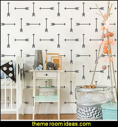 Tribal Arrows Allover Wall Pattern Stencil - Large - Reusable Wall Stencils for DIY Wall Decor