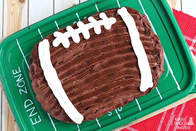 This easy to make & fudgy Chocolate Fudge Football Brownie is the perfect family friendly sweet treat for the big game.
