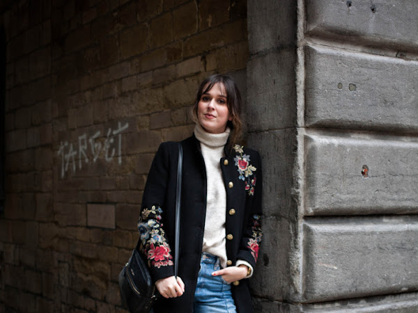 Outfit: bundled up in turtleneck and embroidered coat