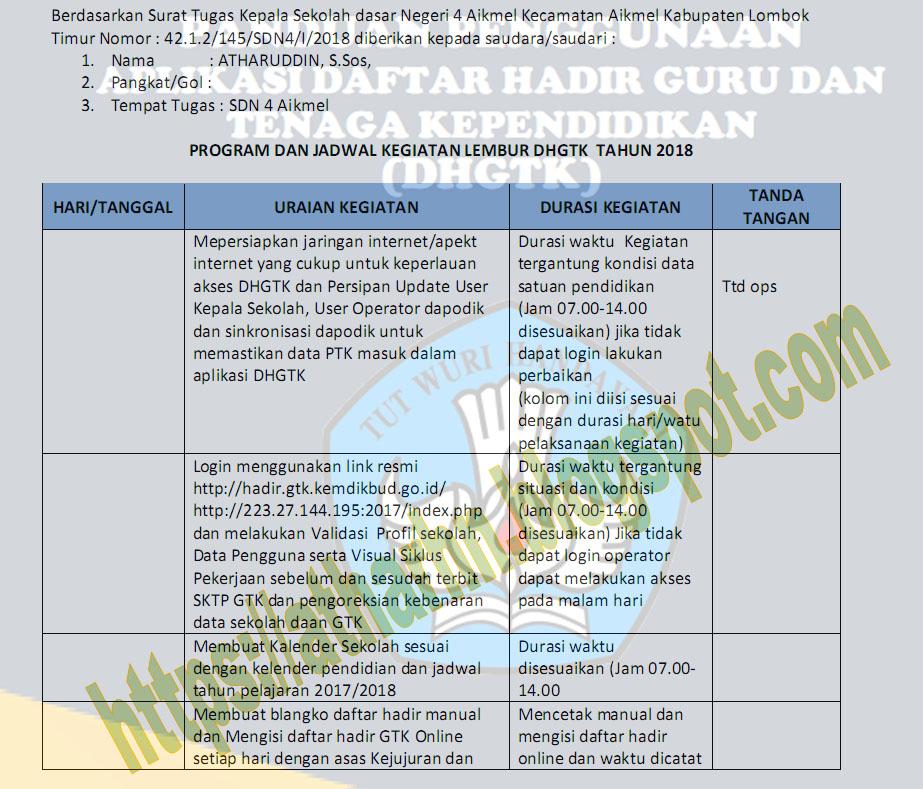 Program Kerja Lembur Operator DHGTK Sekolah 2018   ATHAR_HN