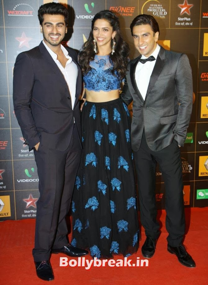 Arjun Kapoor, Deepika Padukone and Ranveer Singh, Star Guild Awards 2014 Pictures