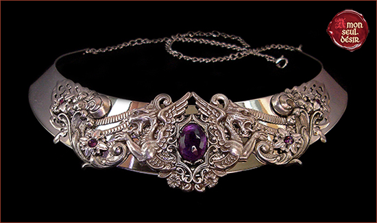 collier argent violet améthyste dragon necklace silver purple amethyst medieval renaissance fantasy jewellery torc queen game of thrones