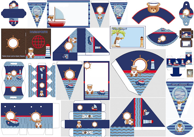 Nice Sailor Bear: Free Printable Invitations, Boxes and Free Party Printables.