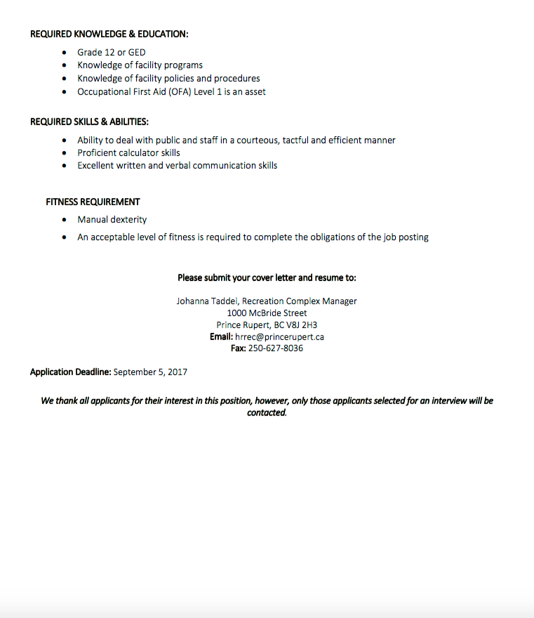 Interested Applications For The Clerk Position Have Until September 5th To  Submit Their Resume To The Recreation Department.
