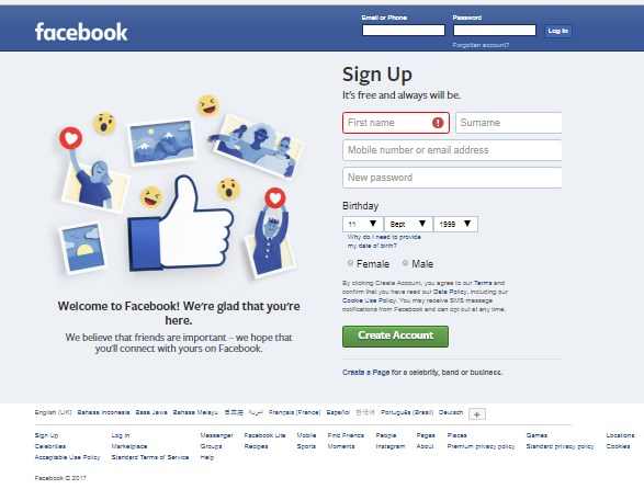 sign up facebook login