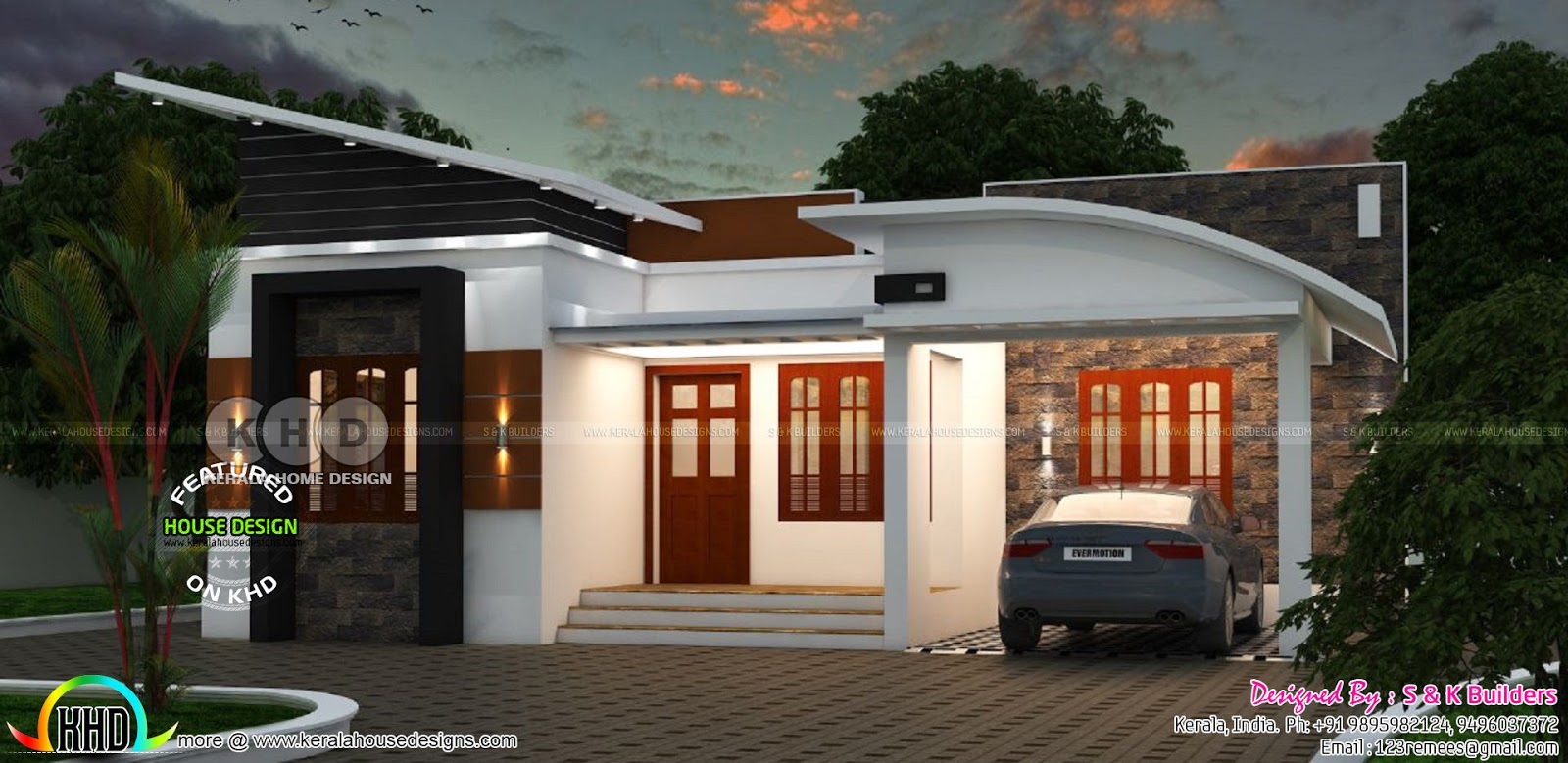 Low cost contemporary home in kerala kerala home design for Kerala home designs low cost
