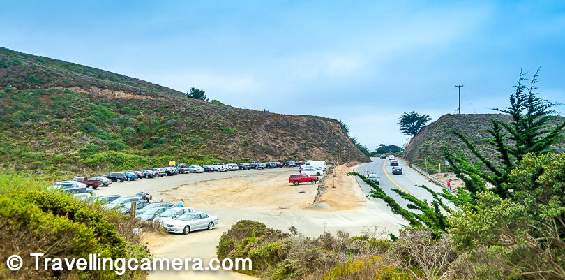 Across the highway, there are parking areas near these beaches. Some of these parking areas are paid but most of them are free. The one near Gray Whale Cove Beach is relatively bigger and there are no parking charges. There are few toilets near this parking area, although a little hidden. One needs to climb a bit to reach these. While driving from San Francisco to Half Moon Bay, this parking area is on the left and beach is on right side of the highway. Keep a watch on your left for parking after crossing Devil's Slide Bunker and that's a good landmark after crossing Pacifica beach and the tunnels.