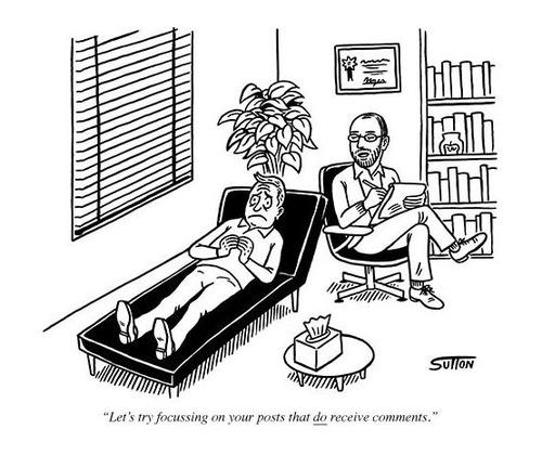 Hilarous Blogger Therapist Cartoon Image
