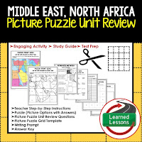 Middle East, North Africa, World Geography Picture Puzzle BUNDLE, Test Prep, Unit Review, Study Guide
