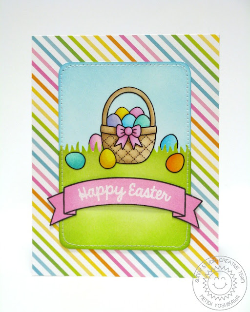 Sunny Studio Stamps Easter Card (using A Good Egg, Sunny Sentiments dies & Sunny Border Stamps)