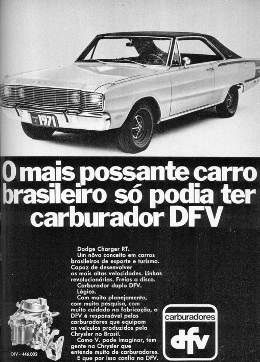 Lançamento do Dodge Charger RT com os carburadores DFV