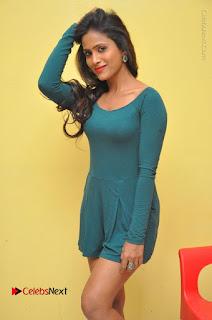 Telugu Actress Prasanthi Stills in Green Short Dress at Swachh Hyderabad Cricket Press Meet  0030.JPG