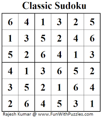 Classic Sudoku (Mini Sudoku Series #41) Solution