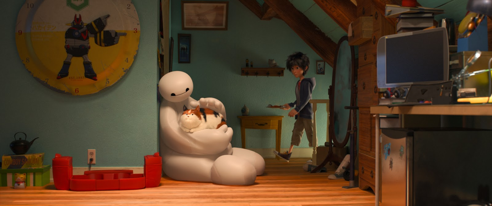 Baymax holding the furry baby aka a cat © 2014 Disney