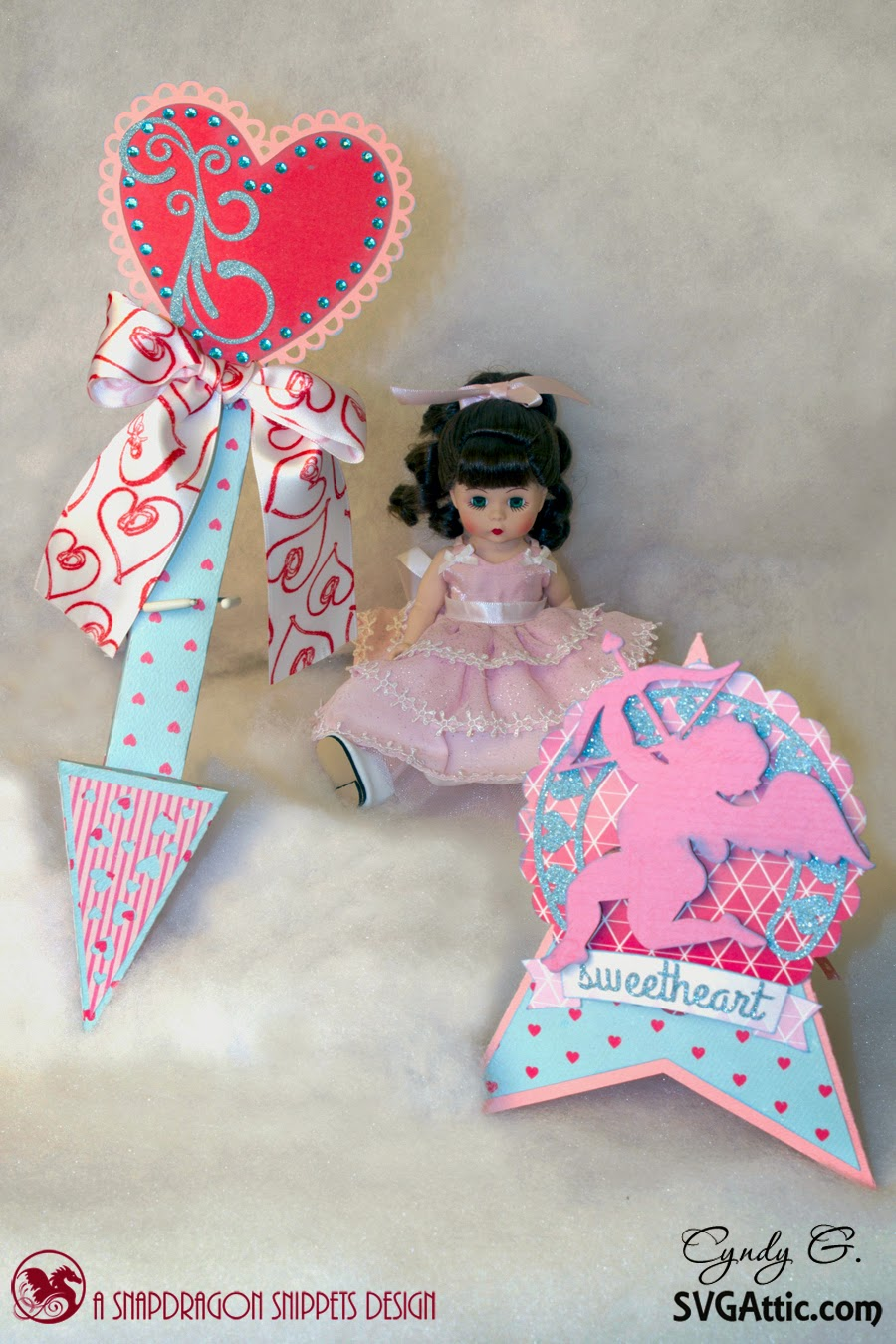 Scene - Clouds with cupid card and 3d cupid's arrow