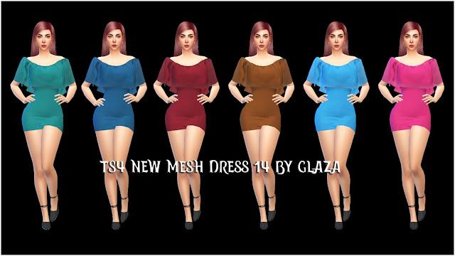 TS4 NEW MESH DRESS 14 BY GLAZA