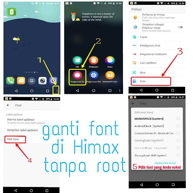 Ubah gaya huruf Himax tanpa root