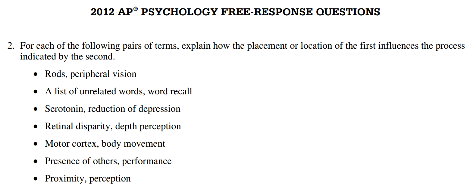 psychology ap essay Free essays from bartleby | applied psychology liza knepper 6/1/2012 the many ap psychology free response questions sample the following questions.