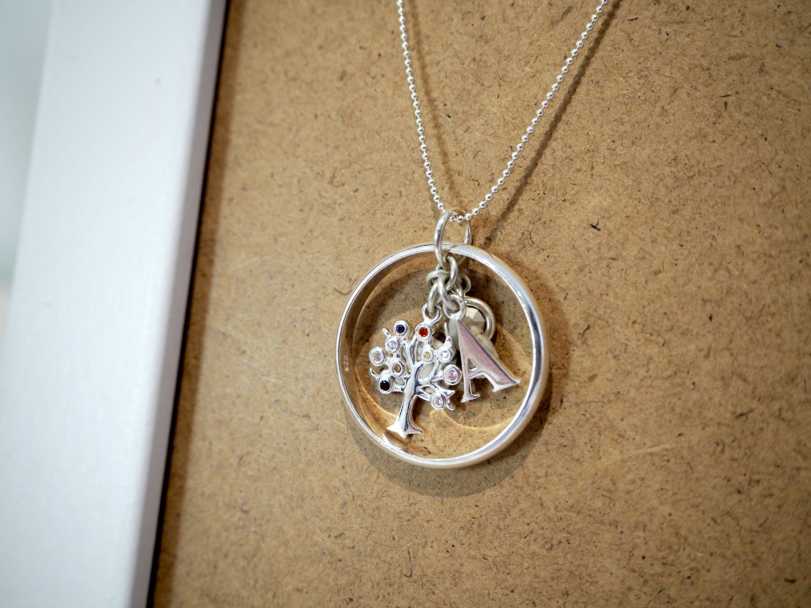 JewelleryBox Karma Moments initial and tree of life charm