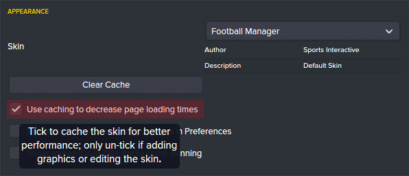 Use Skin Caching in FM 2017