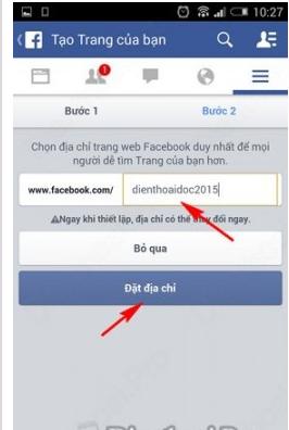 Nhap dia chi fanpage facebook