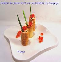 Rollitos de pasta brick con ensaladilla de cangrejo