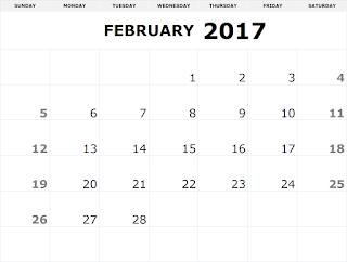 Free Printable Calendar 2017, February Calendar 2017, Printable February Calendar