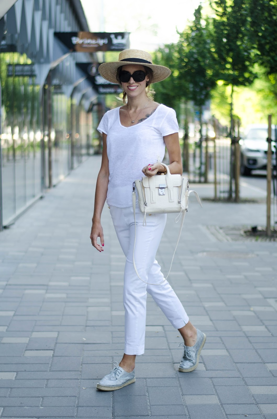 kristjaana mere summer white outfit straw hat espadrilles