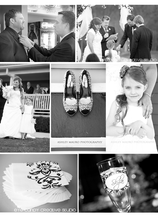 candy car, damask shoes, black & white wedding, family vows, reception