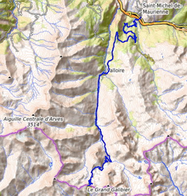 Col du Galibier from Saint Michel de Maurienne, map.