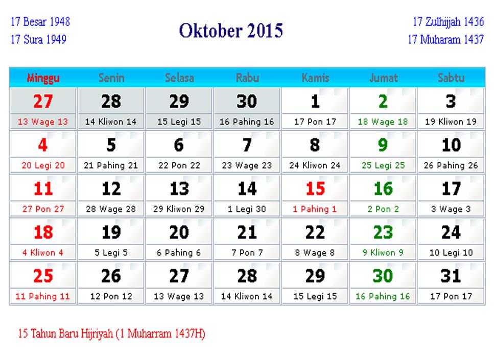 Image Result For Hari Libur Oktober