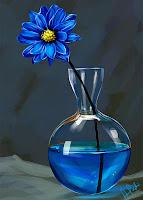 Bir cam vazo içindeki mavi bir su içindeki mavi bir çiçeği gösteren natürmort tablo