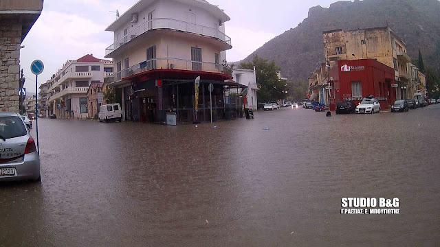 Σφοδρή καταιγίδα στην Αργολίδα - Πλημμύρες στο Ναύπλιο  (βίντεο)