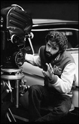El director George Lucas durante el rodaje de American Graffiti