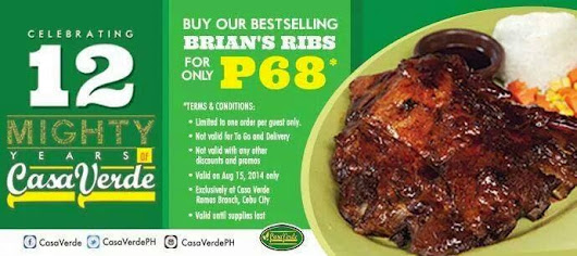 Casa Verde's Anniversary Treat: Best-selling Brian's Ribs for only Php68 - !Blog Cebu