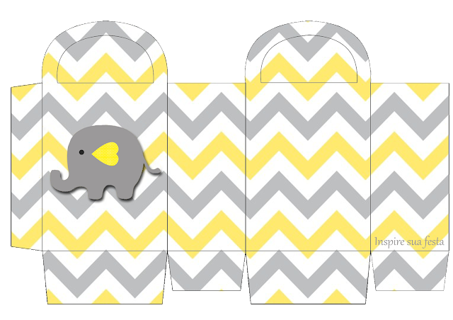 Baby Elephant in Grey and Yellow Chevron Free Printable Box.