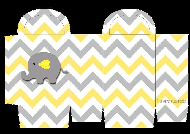 Cajas de Elefante Bebé en Amarillo y Gris para imprimir gratis.