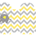 Baby Elephant in Grey and Yellow Chevron: Free Printable Boxes and Free Party Printables.