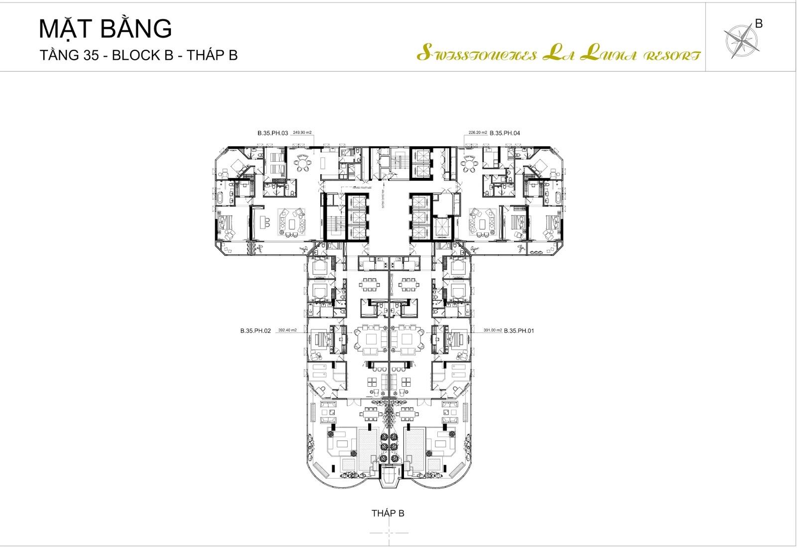 Mặt bằng điển hình tầng Penhouse dự án Swisstouches La Luna