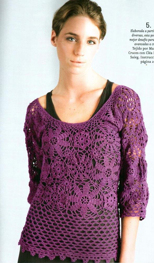 Patron Crochet y Explicacion Jersey Flores