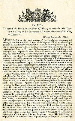 Act to Incorporate the City of Toronto, March 6, 1834