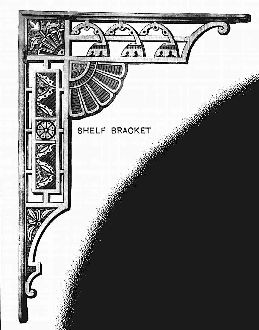 an 1880 brass shelf bracket, ornate and illustrated