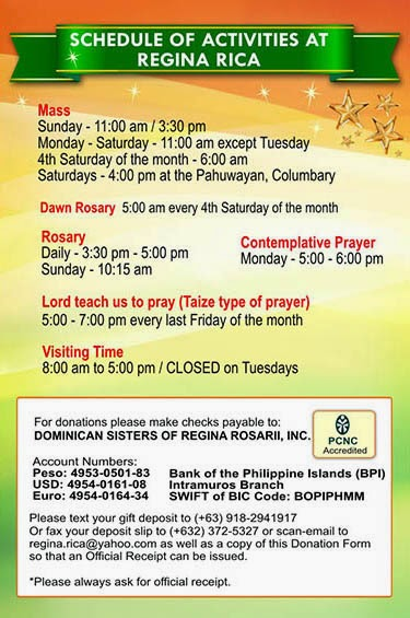 Schedule of Activities at Regina RICA