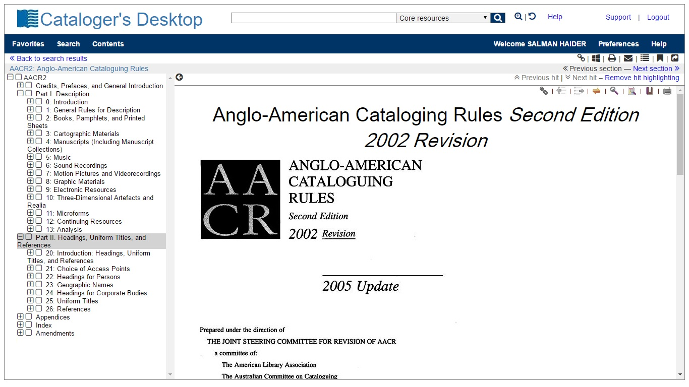 AACR2 in Cataloger's Desktop