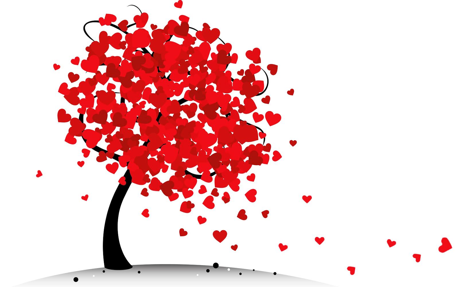 Boom met liefdes hartjes