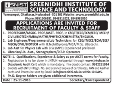 Sreenidhi Institute Of Science And Technology Hyderabad