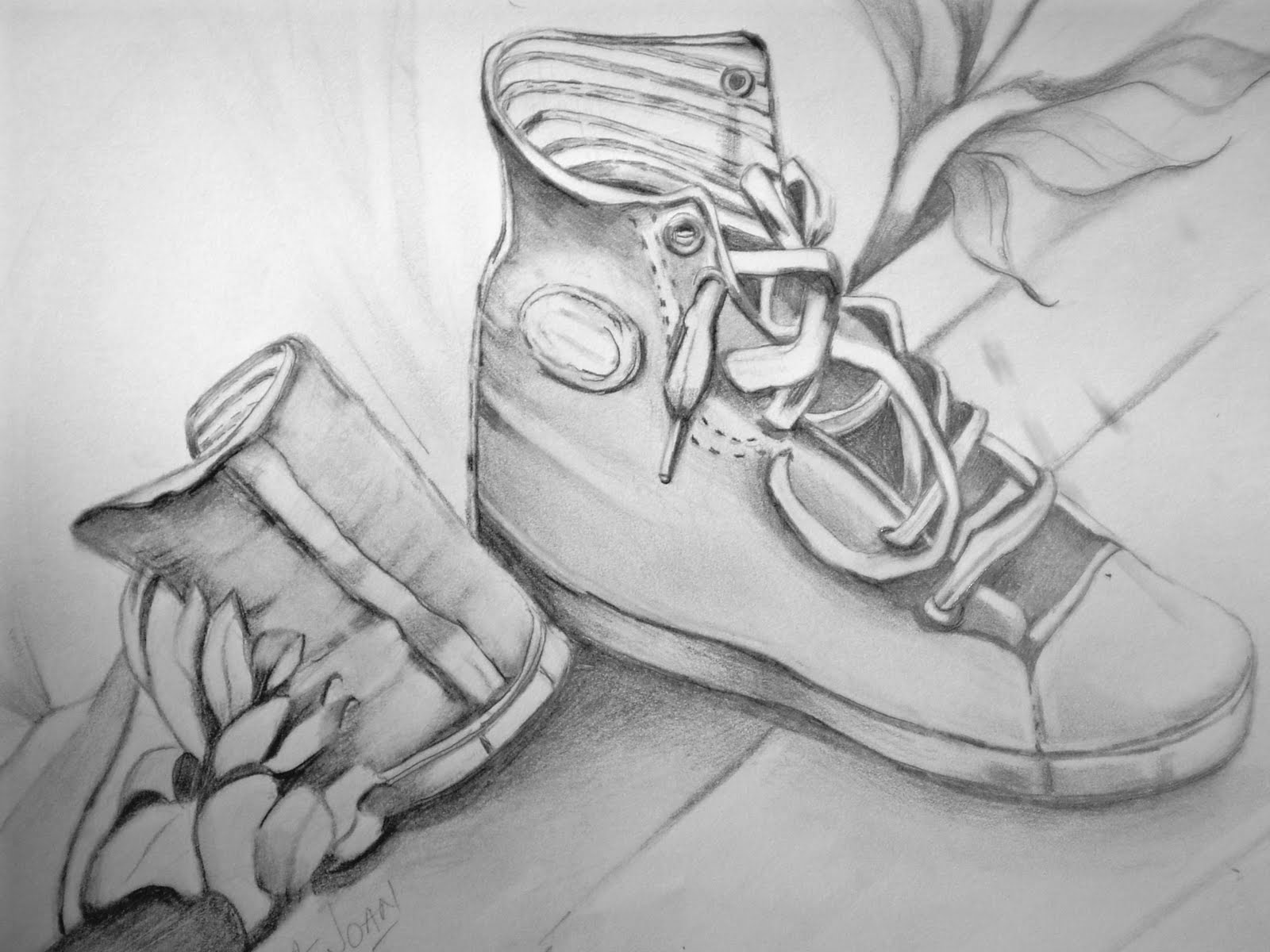 Art hearts place pencil drawing