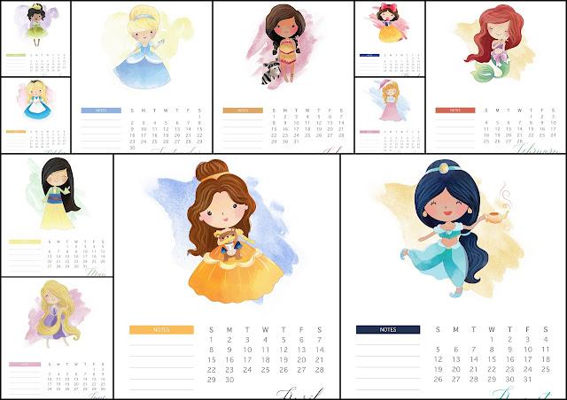 Calendario 2018 de las Princesas Disney para Imprimir Gratis ...