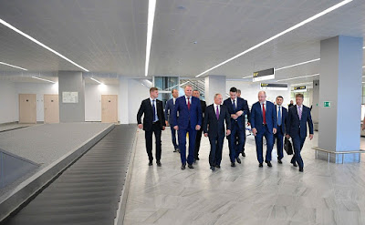 Vladimir Putin visited Khrabrovo airport in Kaliningrad.